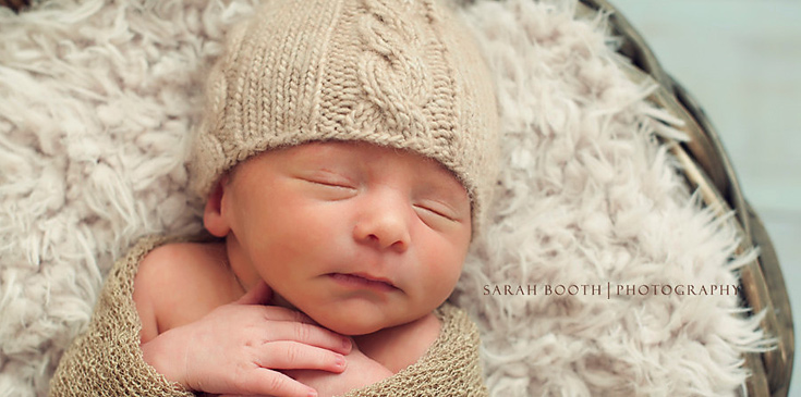 Knit neutral newborn hat