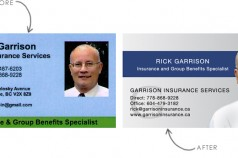 Garrison Insurance business card (before and after)