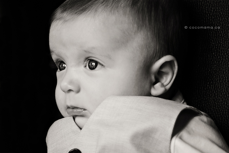 Baby portrait, black and white